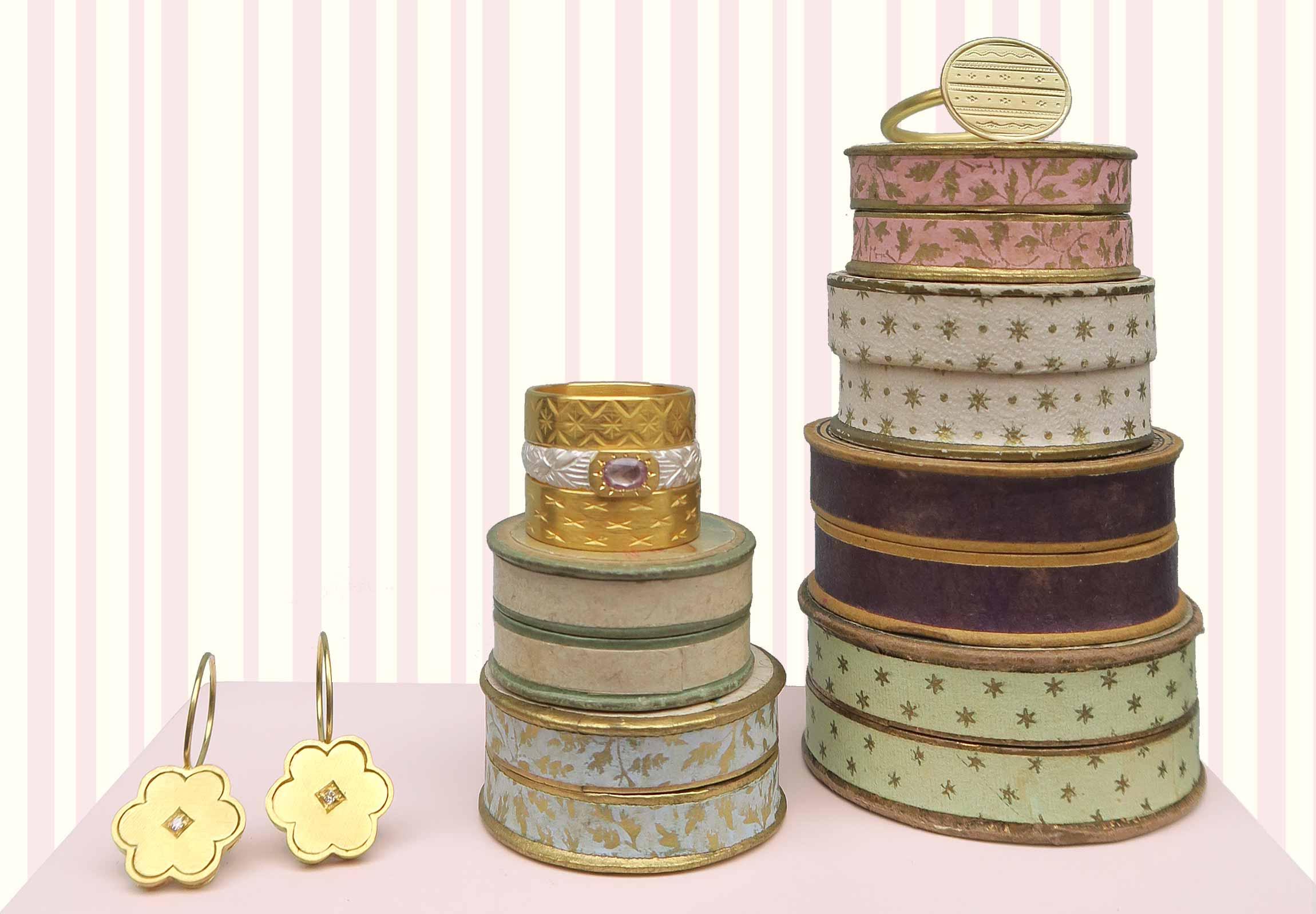OHRRINGE Vintage-Elemente, Gold, Diamant RINGE Gold, Silber, rosa Safir