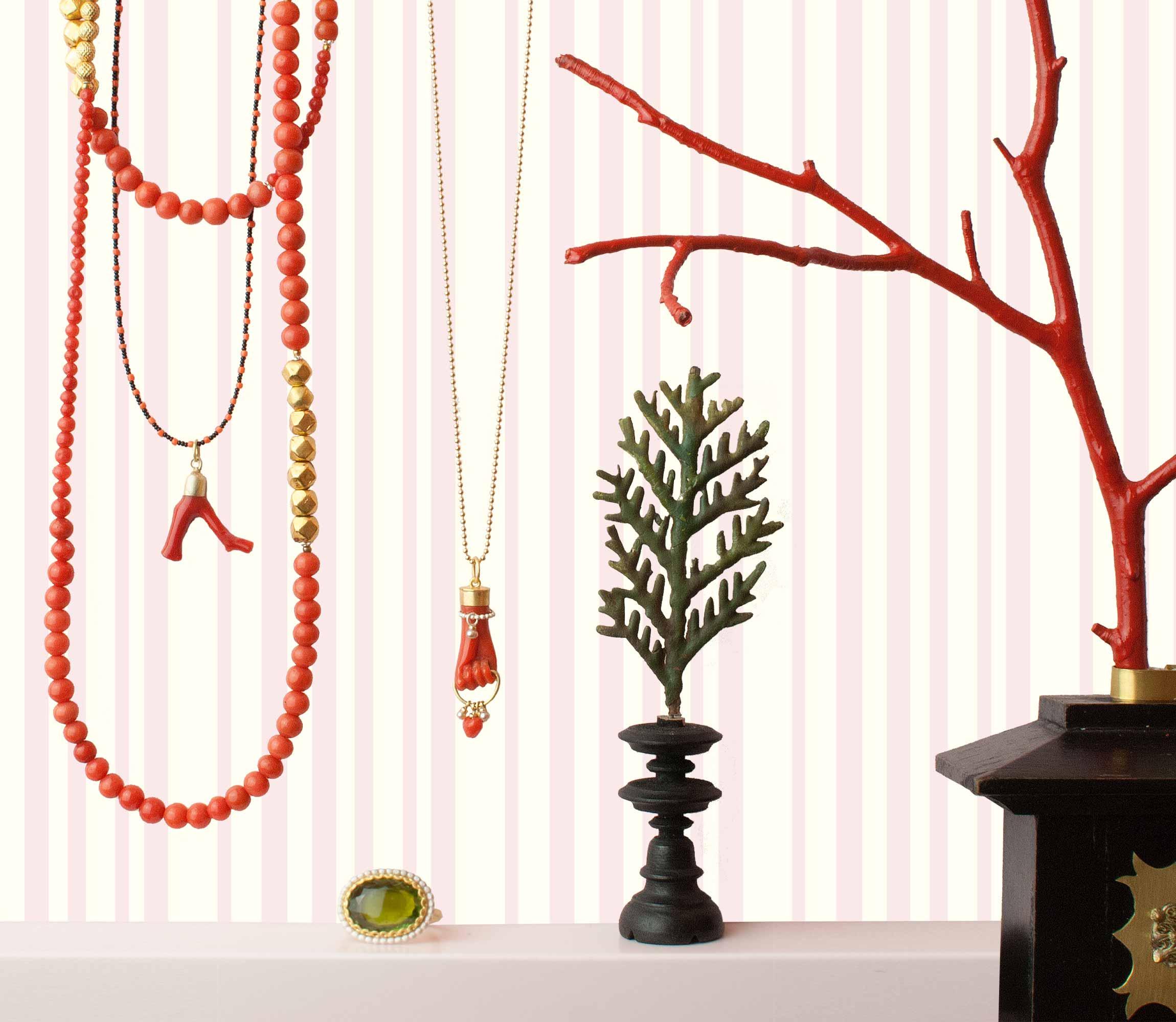 ANHÄNGER Koralle, Gold-Perle KETTE Koralle, Feingold RING Turmalin, Silber, Gold