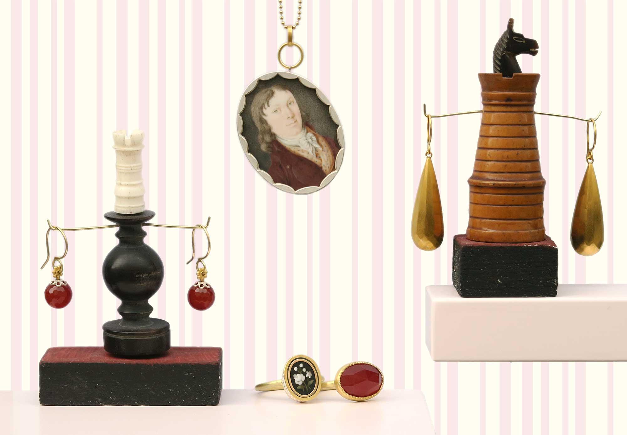 Ohrringe mit Carneolkugeln, Ringe aus Pietra Dura und Carneol