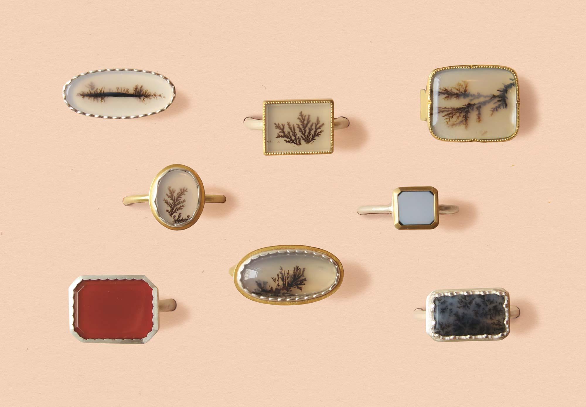 Schmuckausstellung Horizonte - Ringe mit Dendriten -Anne von Waechter